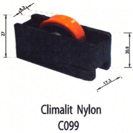 Rodamientos Corredera Climalit Nylon Negro Naranja C099 Puertas - Ventanas