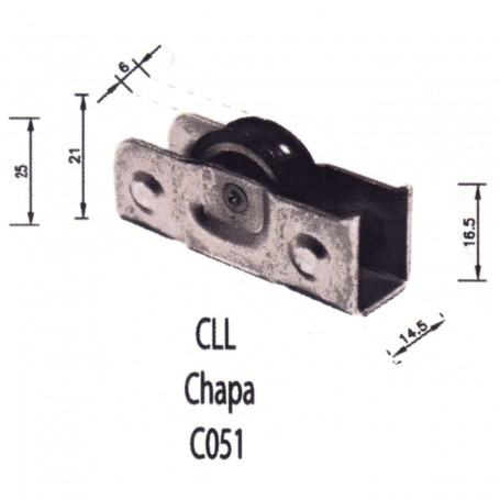 Rodamiento Corredera CLL Chapa C051Puertas - Ventanas