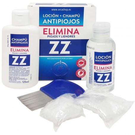 Loción ZZ pediculicida 100ml + champú ZZ 125ml + 1 lendrera con puas metálicas y 2 gorros.