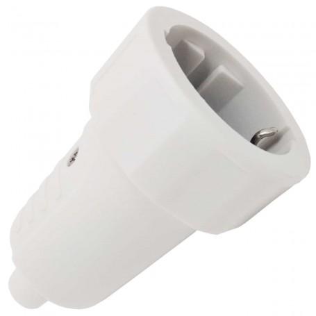 Enchufe Clavija Hembra bipolar 16A 250V~ con toma de tierra, color blanco.