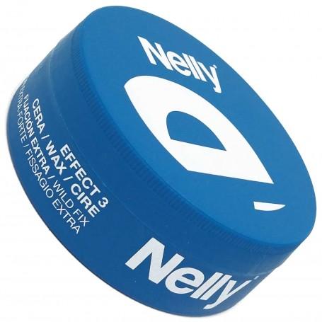 Cera Fijación para el Cabello Nelly. Envase Azul, Cera Fijación Extra. Effect 3