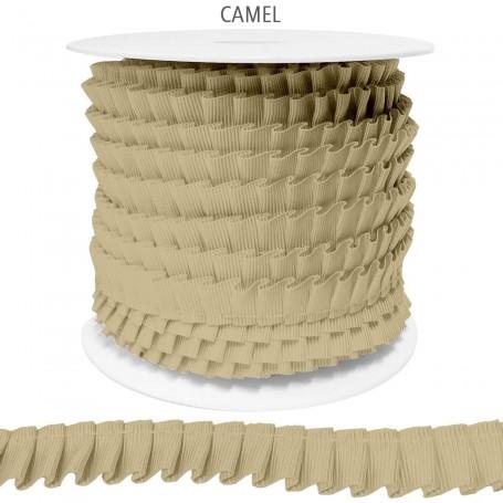 Cinta Plisada de Falla 14 mm Camel 100% Poliester