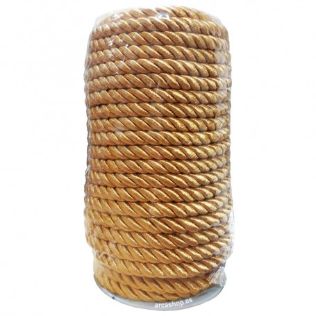 Cordón trenzado 2 cabos acabado amarillo oro (modelo D) Rollo 25 metros. Cordón barato, ideal disfraces.