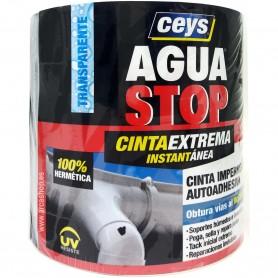 Cinta Transparente para reparar y sellar filtraciones y fugas de agua en tuberías y juntas. AGUA STOP CEYS.