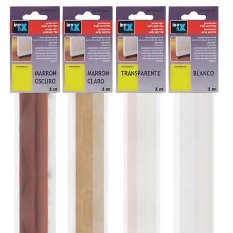 Burletes Bajo Puerta PVC Flexible Inofix, marrón claro, marrón oscuro, transparente o blanco.