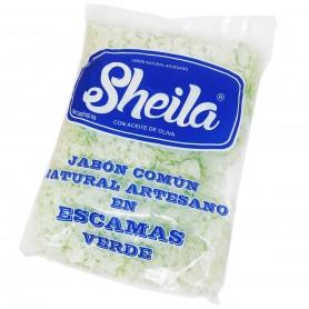Jabón Verde en Escamas, Jabón artesano y natural de Jabones Sheila, jabón verde con aceite de oliva en bolsa de 250 grs.