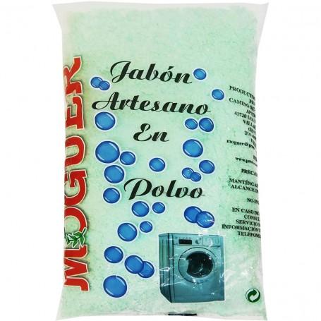 Jabón Verde polvo Moguer, bolsa 450 grs, limpieza ropa  mano o máquina, fabricación detergente casero y limpieza en general.