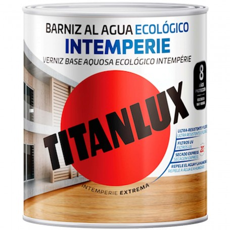 Barniz Intemperie al Agua Ecológico Brillante o Satinado Titanlux. Barniz Incoloro (trasparente).