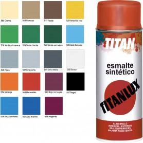 Esmalte Spray Sintético Brillante Titanlux colores Blanco, Negro, Crema, Marrón, Amarillo, Naranja, Rojo, Verde, Azul, etc.