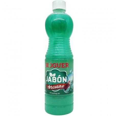 Jabón Verde Líquido Suelos Moguer 1 litro. Fregasuelos natural para suelos de madera y suelos mármol. No agresivo.