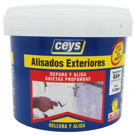 Masilla Emplaste Alisado Exterior 1 kg. Masilla de pintor para reparación, sellado y alisado de grietas en paredes de exterior.