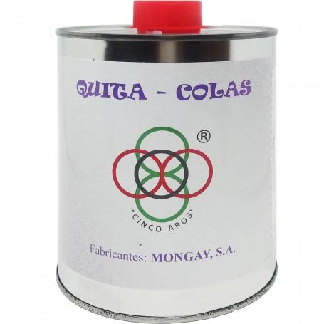 Quita Colas Mongay. Es un líquido muy eficaz para eliminar adhesivos (pegamentos), siliconas, tintas y grasas