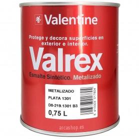 Esmalte Metalizado Plata Valrex Valentine para Interior y Exterior (1301 Metalizado Plata 750 ml), uso en metal y madera.