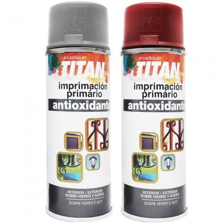 Imprimación Antioxidante Spray Titanlux Gris y Rojo Óxido, usar en metal, hierro, madera, cerámica, piedra, etc.