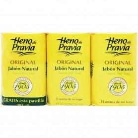 Jabón Original Heno de Pravia Pack 3 pastillas, jabón de baño y tocador.