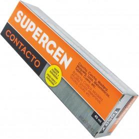 Supergen Pegamento de Contacto. Encolado flexible sobre cuero, corcho, madera, goma, metal, moqueta, cartón, cerámica o tejidos.