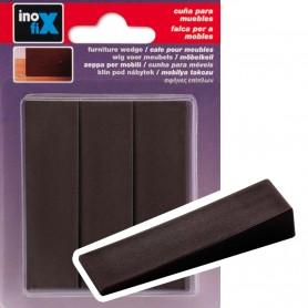 Cuña de plástico, cuña de plástico para nivelar muebles o retener puertas. En marrón o transparente.