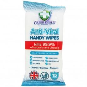 Toallitas Manos Anti-Virales Green ShielD, limpiadoras e higienizantes, combaten el 99,9% de virus y bacterias.