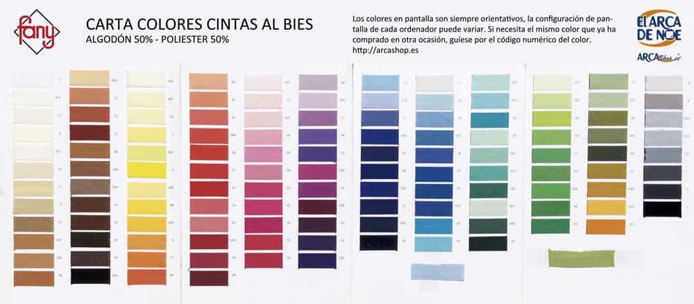 Cinta Al Bies Colores Algodón - Poliester
