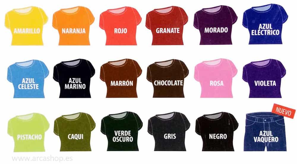 teñir la ropa a mano o a maquina Carta colores, tintes iberia, prendas, camisetas, vestidos, pantalones, camisas, ect