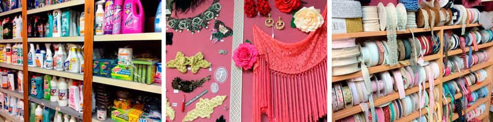 Flamenca, mercería, droguería, cintas, hilos, bordados, encajes, productos de limpieza, compresas, pañales, detergentes, cremas hidratantes maquillaje, al bies, complementos flamenca.