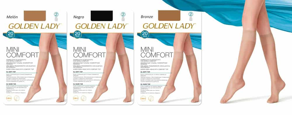 Mini media calcetín para señora mujer y adolescente. elegante. lycra. golden lady