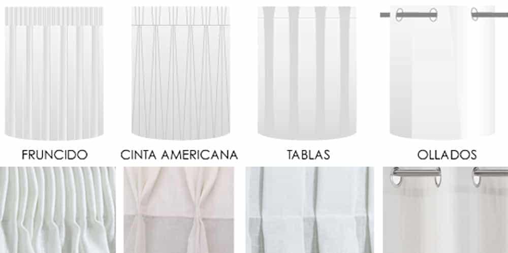 Garfios y corchetes b sicos para cortinas y visillos en barras o rieles - Tipos de cintas para cortinas ...